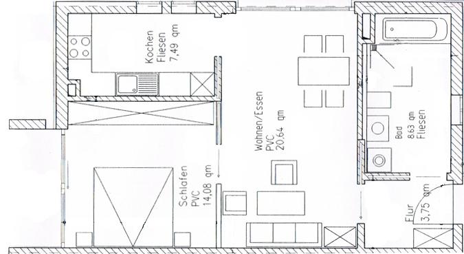 Grundriss 60qm-Wohnung